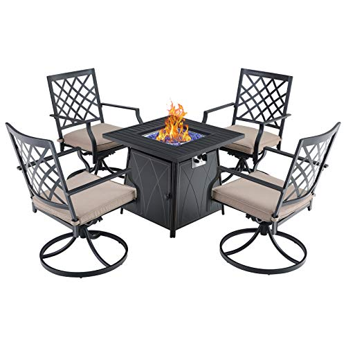 "Sophia & William Gas Fire Pit Table Set Outdoor 5 Pieces Dining Set Patio Furniture 28"" Propane Fire Pit Table 50,000 BTU Auto-Ignition with 4 Dining Swivel Chairs for Patio Lawn Garden Black"