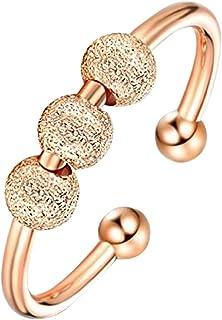 JAWSEU Ångestringar för kvinnor, öppen ring med pärlor justerbara stapelbara ringar, roterbar pärlring, fidgetringar smyck...