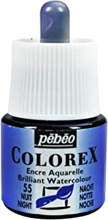 Pebeo Colorex, Watercolor Ink, 45 ml Bottle with Dropper - Night Blue