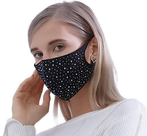 eBoutik - Máscara facial brillante con diamantes de imitación, color plateado