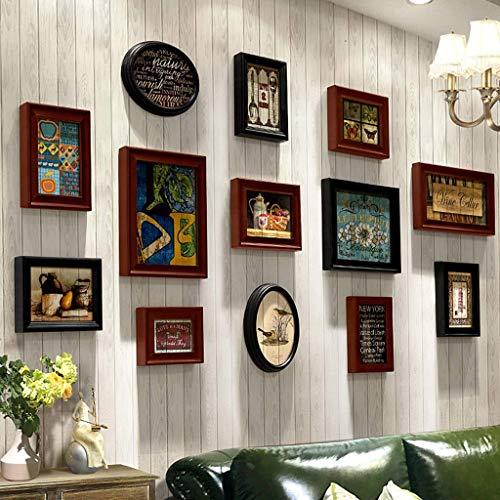 CAIJINJIN marco de fotos Marco de fotos de época de madera americano Imagen de pared creativa combinación de fotos fijas del bastidor marco colgante de pared en combinación Foto 13 piezas Set sala