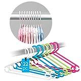 LaLoona - Set 22 Perchas de Colores para bebés y niños - Perchas Infantiles de plástico ahorran Espacio - Blanco/Verde/Azul/Rosa