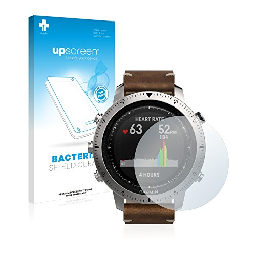 upscreen Antibakterielle Schutzfolie kompatibel mit Garmin Fenix Chronos klare Bildschirmschutz-Folie