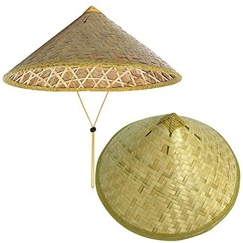 HUANGA Paquete de 2 Sombreros de bambú Sombrero Oriental Sombrero asiático Sombrero Chino Sombrero japonés Sombrero cónico Gorra de Lluvia para el Sol Sombreros de Granjero de arroz