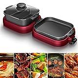 CHOME Raclette Grill, elektrischer Barbecue-Grill 2 in 1, 1000W+1000W BBQ Hot Pot Dual-Use-Pot Elektro mit 5 Temperatureinstellungen und Antihaft-Platten, 6 Personen, zum Grillen, Kochen, Dämpfen