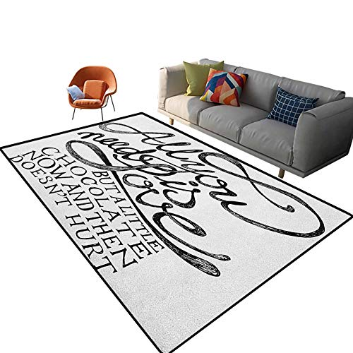 Quote Outdoor Patio Rug All You Need is Love Calligraphy Comic Fun Happiness Quotes Classic Artwork Print Soft Nursery Rug for Kids Teens Room 5'x 7'