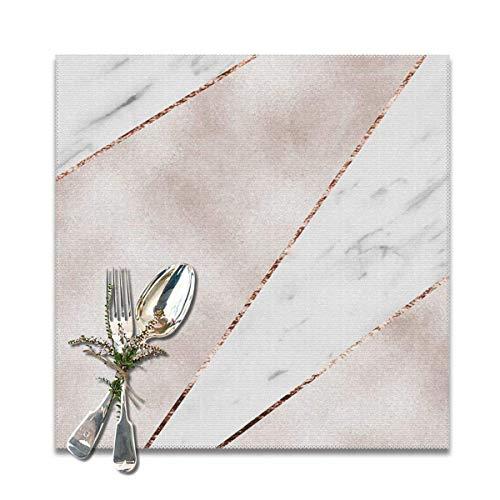 Juego de 6 manteles individuales de mármol de oro rosa empalmados antideslizantes, lavables y antideslizantes, cuadrados, 30,5 x 30,5 cm, para cocina, comedor, decoración del hogar