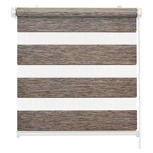 Doppelrollo Natural, Grau-Braun, 50x150cm - Duo-Rollo Klemm Fix mit Klemmträger, Fenster-Rollo/Seitenzug-Rollo ohne Bohren, lichtdurchlässig und verdunkelnd