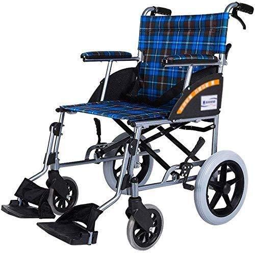 RONGW JKUNYU Wheelchair Wheelchair Aluminum Alloy Manual Wheelchair Lightweight Folding Old Scooter Disabled Four Wheel Bearing Weight 100Kg Wheelchair Folding Lightweight