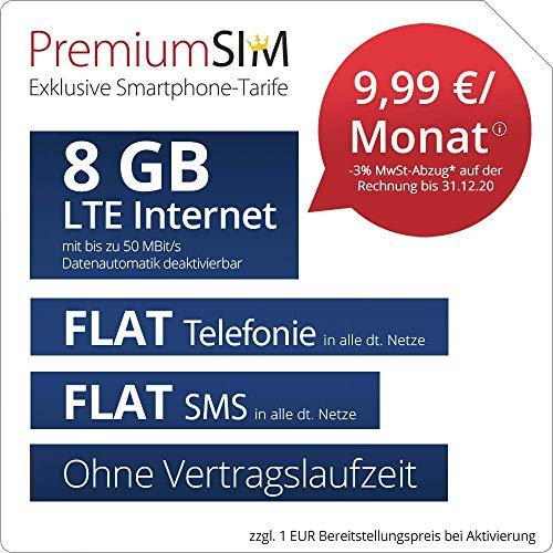 PremiumSIM Handyvertrag LTE XL Allnet Flat ohne Vertragslaufzeit (Flat Internet 8 GB LTE mit max 50 MBit/s mit deaktiverbarer Datenautomatik, Flat Telefonie, Flat SMS und EU-Ausland, 9,99 Euro/Monat)