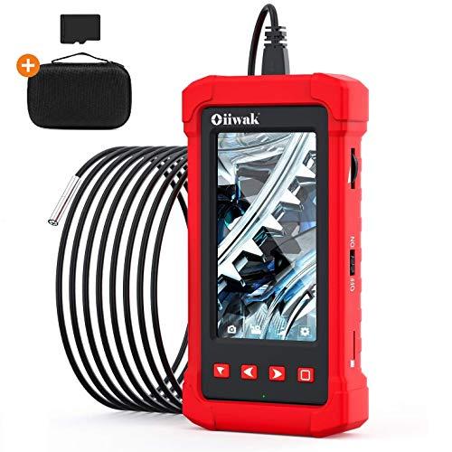 Oiiwak Inspektionskamera 3.9 mm,Endoskopkamera mit 6 Lichte 2800mAh 1080P HD 4.3-Zoll-LCD-Bildschirm IP68 wasserdichte Schlangenkamera mit 8GB TF-Karte und Tasche ideal für Industrie/Heim(3.5M)