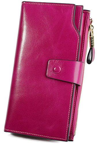 YALUXE Women's Wax Genuine Leather RFID Blocking Large Capacity Luxury Clutch Wallet Card Holder Organizer Ladies Purse Wallets for women brown Pink