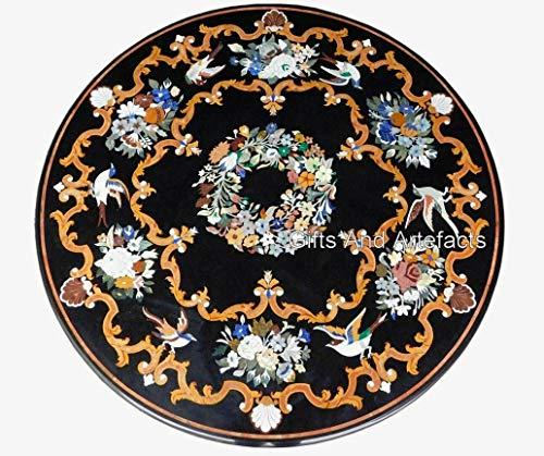 Indiano Cottage Arte e Artigianato Lavoro In Marmo Intarsiato Divano Tavolo Tavolo Da Cucina Nero Dimensioni 96 pollici