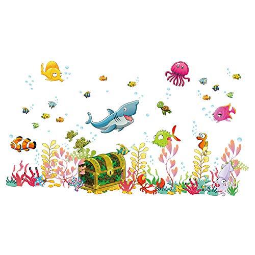 ElecMotive Mondo del mare Camera dei Bambini Vivai Adesivi da Parete Removibili Stickers Murali Decorazione Murale 68 x 122 cm