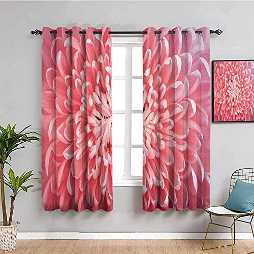 LucaSng Blackout Curtain Thermal Insulated - Pink flowers plants art - 104x83 inch for Bedroom Kitchen Living Room Boy Girl Window - 3D Digital Printing Eyelet Ring Curtain