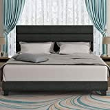 Amolife King Size Fabric Upholstered Bed Frame with Headboard/Platform Bed Frame with Strong Wood slats Support/Mattress Foundation/No Box Spring Needed,Dark Grey
