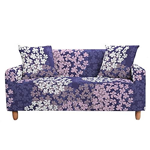 Funda Elástica para Sofá de 1/2/3/4 Plazas, Chickwin Universal Color 3D Floral Estilo Antideslizante Tejido Elástico Lavable Extensible Cubierta Protector de Sofá (Flores Rosa púrpura,3 plazas)