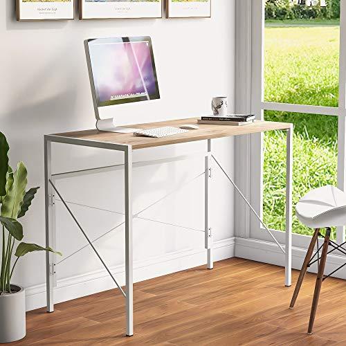 belupai Mesa plegable para ordenador portátil, escritorio de oficina, escritorio de estudio, escritorio simple para el hogar, oficina, estilo industrial, color natural