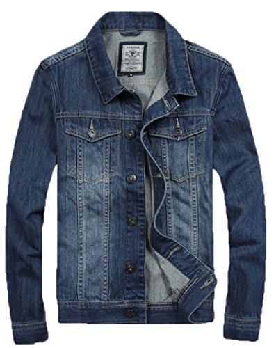 WSLCN Jaqueta jeans masculina casual com 2 bolsos no peito, manga comprida, Azul, Asian M (US/EU XS)