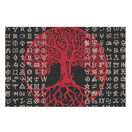 KittyliNO5 Wikinger Rotes Yggdrasil Baum des Lebens Puzzles 500 Und 1000 Teile Papier Puzzle Decompressed Puzzle Spiel Spielzeug DIY Spiel White 1000pieces