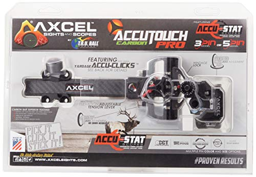 Axcel ACUT-C310-4BK Accu Touch Carbon Pro Stat 3 Pin .010 Archery Sight, Left Hand/Right Hand