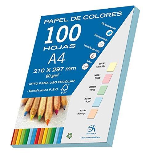 DOHE 30193 - Pack de 100 papeles A4, 80 g, color azul pastel