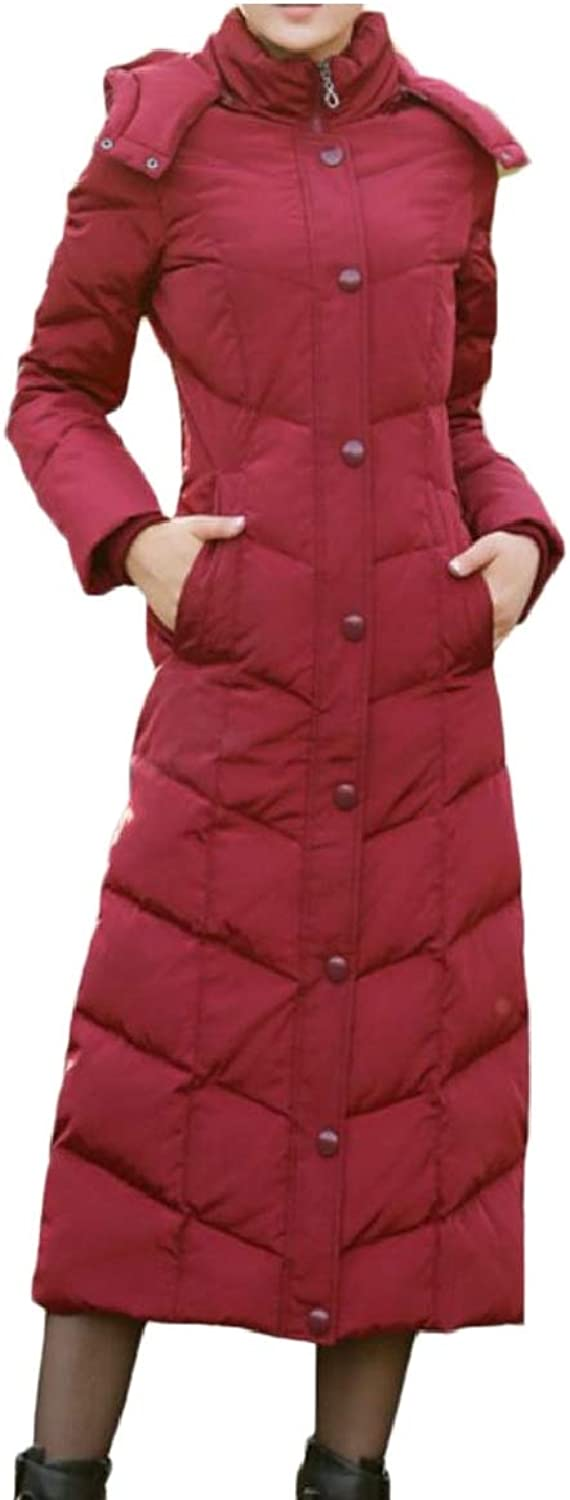 Women's Solid Hooded Maxi Down Coat Long Puffer Jacket