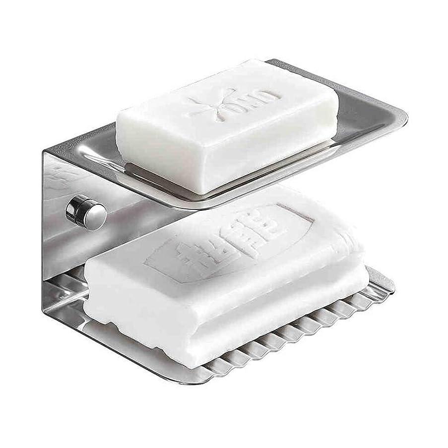 ベルト依存するラウンジYQQ-棚 ソープストレージのクリーニングステンレス鋼の浴室のソープボックスソープバスケット壁掛けモダンなスタイルの2層ソープディッシュラック