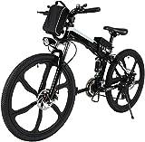 """ANCHEER 26"""" Bicicletta elettrica pieghevole Mountain bike Sedile regolabile Bicicletta elettrica Batteria al litio 36V / 8AH Sistema di trasmissione a 21 velocità Carico massimo: 120 kg (Nero)"""