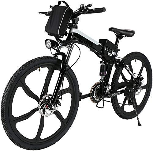 ANCHEER 26' Bicicletta elettrica pieghevole Mountain bike Sedile regolabile Bicicletta elettrica Batteria al litio 36V / 8AH Sistema di trasmissione a 21 velocità Carico massimo: 120 kg (Nero)