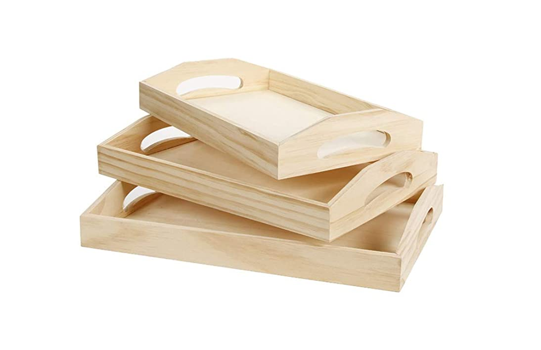 Darice Wood Tray Unfinished Set 3