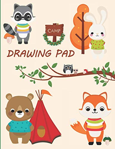 Drawing Pad: Sketchbook Camping Edition For Kids - Best Children's Practice Sketch Book - Large Journal Notebook For Creative Doodling and Sketching - ... To Draw - Woodland Friends Cover 8.5'x11'
