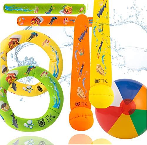 TK Gruppe Timo Klingler Schwimmring & Tauchring Set - mit Schwimmring, Tauchring, Wurfring - Tauchspielzeug zum Tauchen für Kinder & Erwachsene