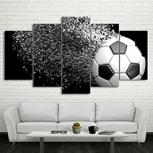 GHYTR Impresión En Lienzo 5 Piezas Cuadro sobre Lienzo Balón De Fútbol Futbol Shatter Imágenes XXL 150X80Cm Oficina Sala De Estar O Dormitorio Decoración del Hogar Arte De Pared