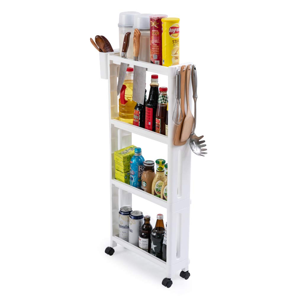 Baina Kitchen Trolley Removable Slim Slide Out Storage Tower Rolling Cart Narrow 4 Tier Kitchen Storage Organizer On Wheels Spice Rack Bedroom And Bathroom With A Hook And A Basket White Buy