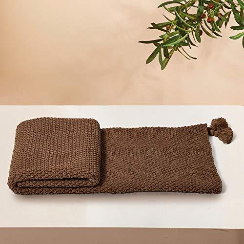 MYLUNE HOME Handgemachte Boho Strickdecke, Kuscheldecken für Sofa / Bett & als Zudecke, 127x152cm, Braun