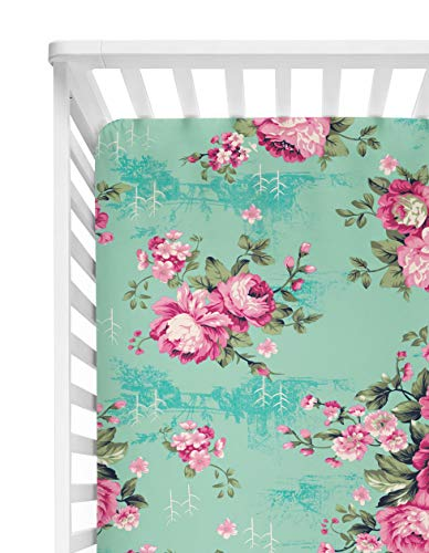 Aqua Floral Posh Peanut Fitted Crib Sheet Standard Crib and Toddler Mattresses 52 by 28 Soft Polyester-Micro Fleece Fabric