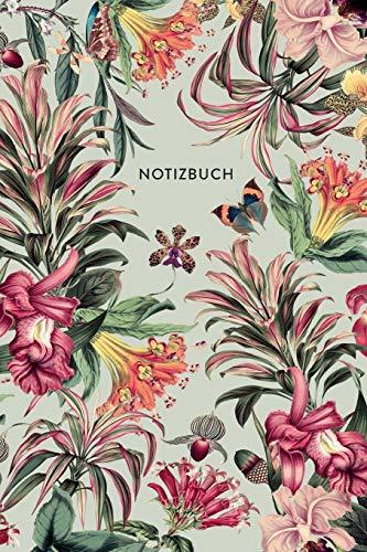 Notizbuch: Botanischer Garten   ca. DIN A5 (6x9\'\'), kariert, 108 Seiten - Farne, Blüten, Tropical   für Notizen, Termine und Skizzen - Ideal als Organizer, Kalender, Semesterplaner, Journal