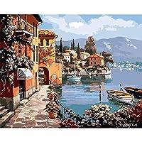 ナンバーズハウスによる油絵ナンバーズによるDIY写真海景キット手描きの絵画キャンバスに描く家の装飾、50x40cmフレームなし