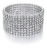 JEWMAY Yumei Jewelry 8 Strand Rhinestone Stretch Bracelet Silver-tone Sparking Tennis Bracelet