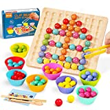 O-Kinee Holz Go Spiele Set, Holz Clip Beads Brettspiel, Clip Perlen Spiel Puzzle Board, Puzzle Spielzeug, Montessori Pädagogisches, Clip Perlen Spiel Shape Puzzle, Geschenk für Mädchen Jungs