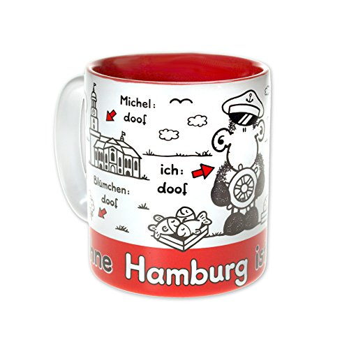 """Sheepworld 61038 Tasse \""""Ohne Hamburg ist alles doof\"""", Steingut, 30 cl"""