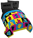 Jay Franco Fortnite Neon Warhol 5 Piece Full Bed Set - Includes Comforter & Sheet Set - Bedding Features Llama, Peely, & Vertex - Super Soft Fade Resistant Microfiber (Official Fortnite Product)
