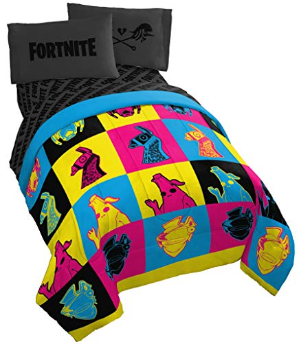 Jay Franco Fortnite Neon Warhol 5 Piece Full Bed Set - Includes Comforter & Sheet Set - Bedding Features Llama, Peely, Vertex - Super Soft Fade Resistant Microfiber (Official Fortnite Product)