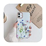 Carcasa para iPhone 12 11 12Pro Max X XR XS Max 7 8 Plus en relieve floral transparente suave TPU cubierta trasera -N1-para iPhone 12