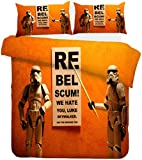 Aatensou Juego de cama de 3 piezas (Star Wars) incluye 1 funda nórdica y 2 fundas de almohada, microfibra, cremallera (A4, 220 x 240 cm + 50 x 75 cm x 2)