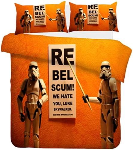 Aatensou Juego de cama de 3 piezas (Star Wars) incluye 1 funda nórdica y 2 fundas de almohada,...