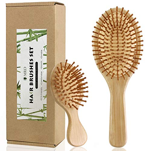 2Pcs Bamboo Hair Brushes Set For Women Men and Kids with Paddle Detangling Brush and Mini Elliptical Brush Natural EcoFriendly Hairbrush Massage Scalp Thick/Thin/Curly/Dry Hair Gift kit