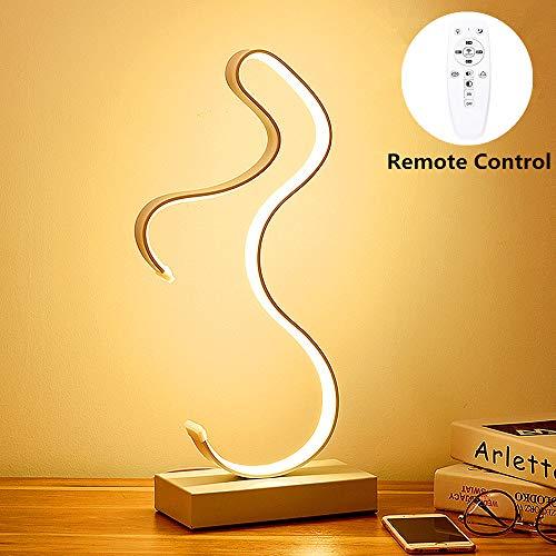 ELINKUME Dimmable LED Curved Tischlampe, 18W 3 Farbtemperaturen Stufenlos Dimmbare LED Nachttischlampe mit Fernbedienung (Weiß)