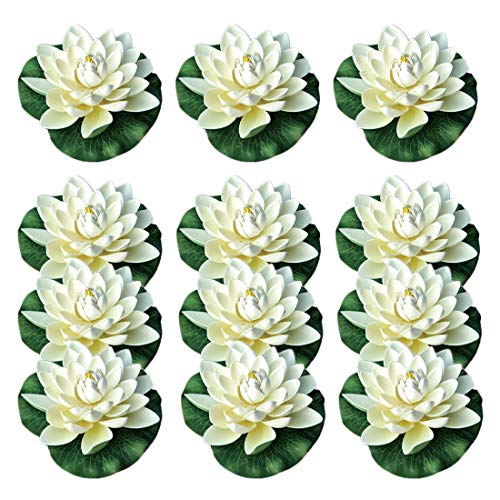 NAVADEAL 12PCS Artificial Floating Foam Lotus Flowers, with Water Lily Pad Ornaments, Ivory White, Perfect for Patio Koi Pond Pool Aquarium Home Garden Wedding Party Holiday Decoration